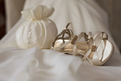 Bride derss ans shoes Royalty Free Stock Images