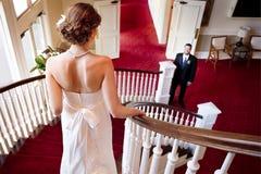 Bride Descending Stair Case Stock Photo
