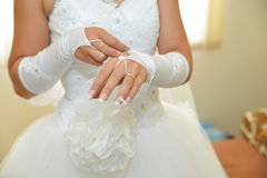 Bride details. Bride wedding dress. Hands details Stock Image
