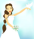 Bride and dove. EPs. Full editable Royalty Free Stock Image