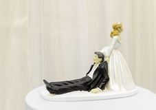 Bride and husband scene for wedding cake Royalty Free Stock Image