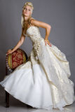 Bride in dress. Beautiful bride looks very nice royalty free stock photos