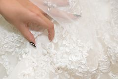 Bride dress details. Wedding dress close-up details Stock Images