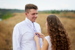 Bride dress for groom his tie on the nature in field Royalty Free Stock Image