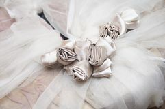 Bride dress with silk flowers Stock Images