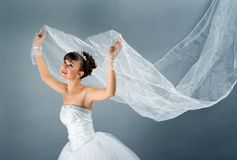 Bride dressed in elegance white wedding dress Stock Photography