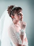Bride dressed in elegance white wedding dress Stock Photo