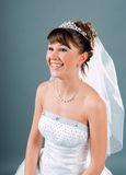 Bride dressed in elegance white wedding dress Royalty Free Stock Photos