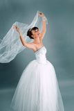 Bride dressed in elegance white wedding dress Royalty Free Stock Photo