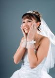 Bride dressed in elegance white wedding dress Stock Images