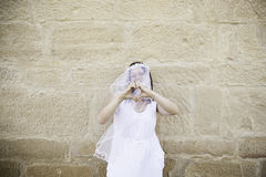 Bride dressed in love Royalty Free Stock Photo