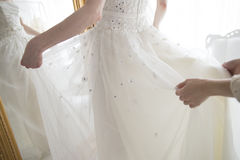 Bride dressed in white dress Stock Photo