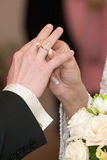 Bride Dresses Bridegroom A Ring Royalty Free Stock Image