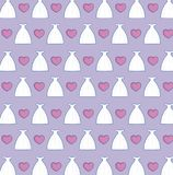 Bride dresses and hearts background Royalty Free Stock Images