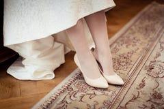 Bride dresses shoes Stock Image