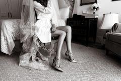 Bride dresses shoes Stock Photography