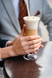 Bride drinking a latte with a heart Stock Images