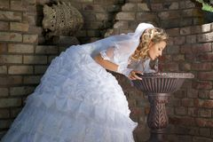 Bride drinking water Royalty Free Stock Photo