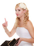 Bride with empty purse shaking finger Stock Image