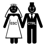 Bride ESC groom CTRL icon. Bride ESC groom CTRL humorous icon vector illustration Royalty Free Stock Image