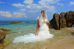 Bride on exotic beach portrait Royalty Free Stock Images