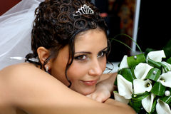 Bride with extravagant hairstyle Royalty Free Stock Photos