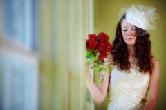 Bride with eyes closed dreaming. Young bride eyes closed dreaming Royalty Free Stock Photography