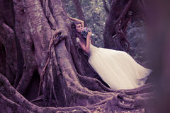 Bride in fairy forest Royalty Free Stock Photography