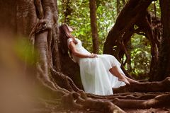 Bride at fairy forest Stock Photography