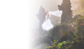 Bride in fairy park in Bali Stock Images