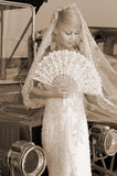 Bride with fan Stock Photography