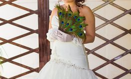 Bride with fan Royalty Free Stock Images