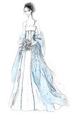 Bride Fashion Illustration. Illustration with model wearing white and blue wedding gown. Created with ink and colored pencils, clean background Stock Image