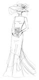 Bride Fashion Illustration. Illustration with model wearing modern siren gown with hat. Created with ink, clean background Stock Photography