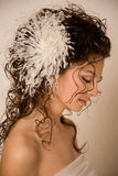 Bride with feather hairpin Royalty Free Stock Photos