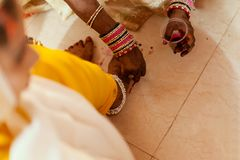 Bride feet coloring ceremony, a Hindu wedding ritual, royalty free stock photography