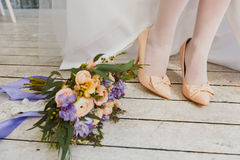 Bride feet Stock Photo