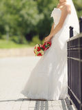 Bride at Fence Royalty Free Stock Images