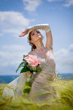 Bride in field Royalty Free Stock Photos