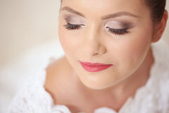 Bride with fine make-up Stock Images
