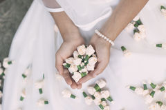 Bride first holy communion flowers Royalty Free Stock Photo