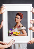 Bride fitting in frame Royalty Free Stock Images