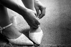 Bride fitting shoes Stock Image