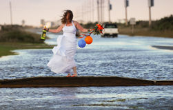 Bride at Flooded Event North Carolina Outer Banks Royalty Free Stock Images