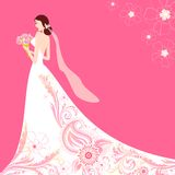 Bride in Floral Wedding Dress Stock Photography
