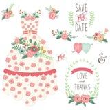 Bride Floral Wedding Dress Set Stock Photography