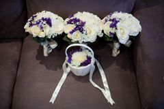 Bride and flower girl bouquet royalty free stock image