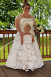 Bride and Flower Girl Royalty Free Stock Photography