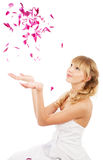 Bride with flower petals Royalty Free Stock Images