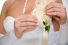 Bride with flower unblown roses in her hair Royalty Free Stock Photo